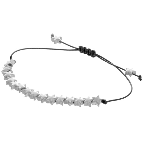 "Adjustable corded bracelet with star pendants. Approximate 10"" in length."