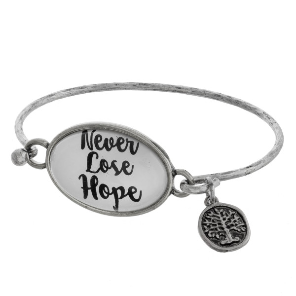Wholesale cuff bracelet charm message Never Lose Hope Approximate diameter