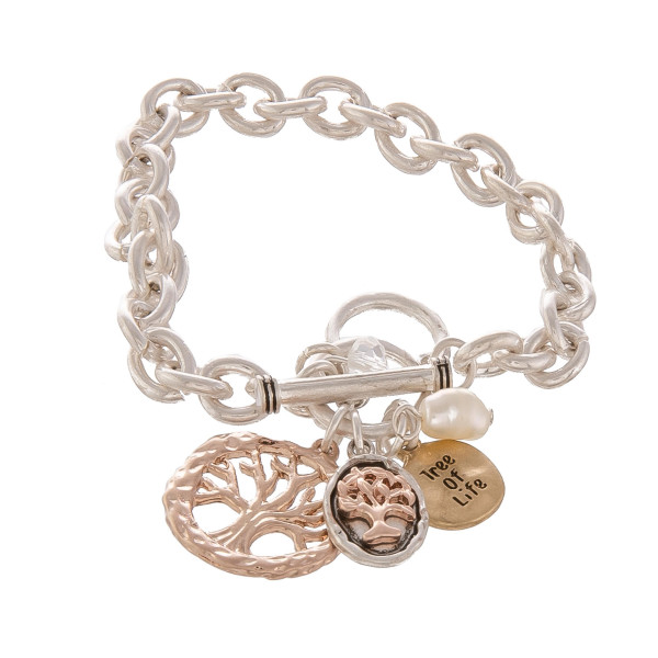 """Metal chain linked bracelet with charms. Approximate 6"""" in length."""