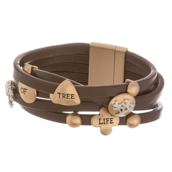 "Leather bracelet with inspirational message "" Tree of life."" Approximate 8"" in length."