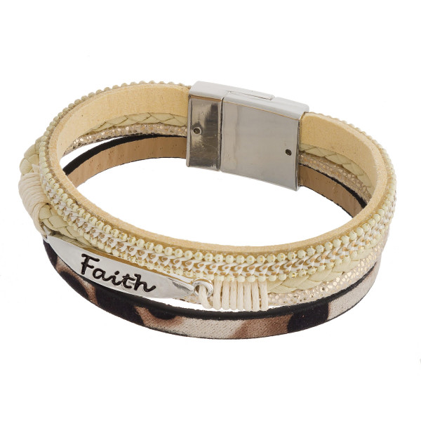 Wholesale three layered faux leather bracelet metal Faith engraved animal print