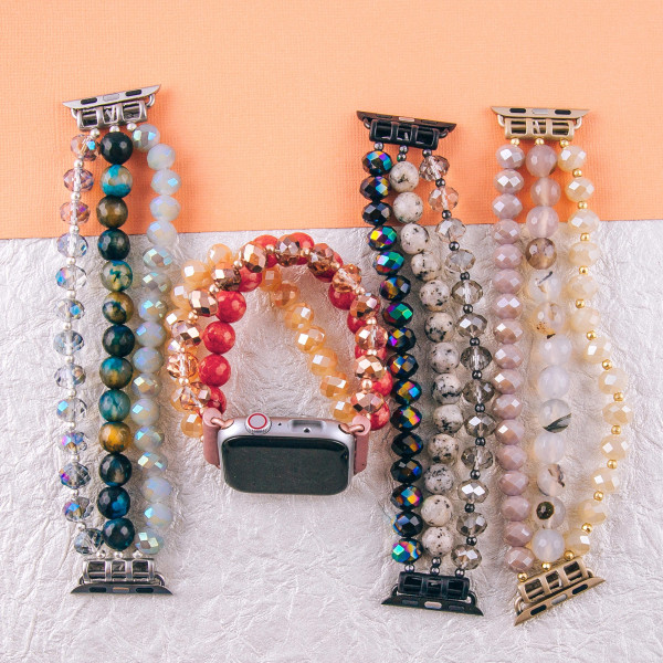 "Beaded stretch bracelet for smart watches. Fits a 38mm size smart watch. WATCH NOT INCLUDED.  Approximately 6 1/2"" in length."