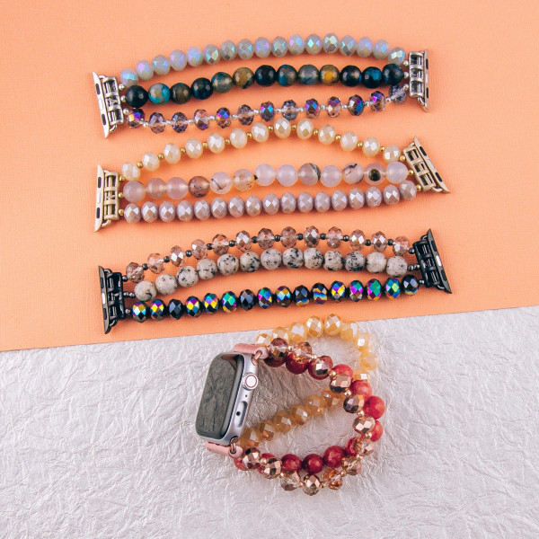"""Beaded stretch bracelet for smart watches. Fits a 38mm size smart watch. WATCH NOT INCLUDED.  Approximately 6 1/2"""" in length."""
