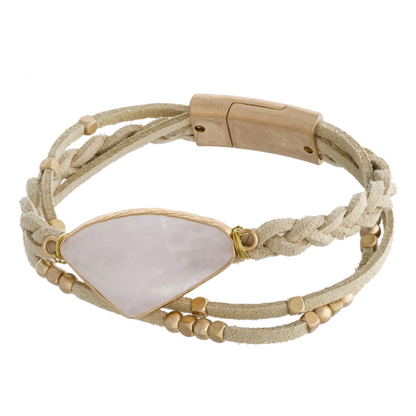 """Leather multi strand bracelet with beads and natural stone wrist detail. Approximate 8"""" in length."""