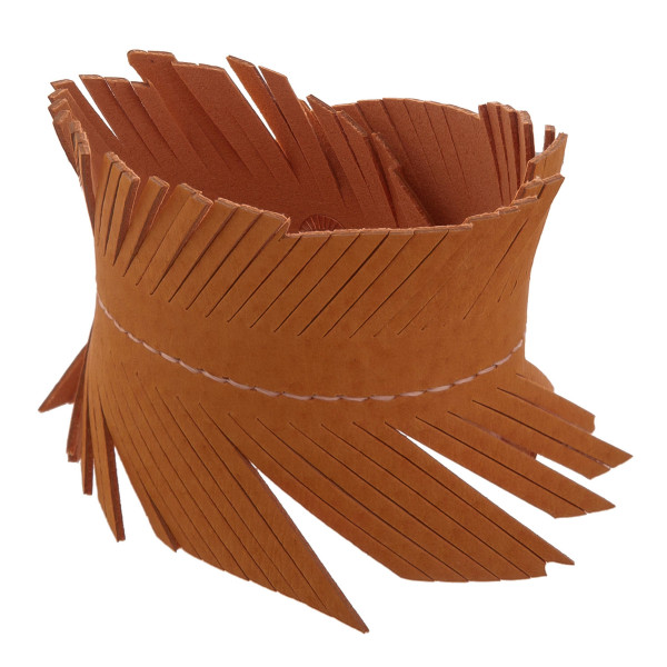 """Faux-leather cuff bracelet with feather detail. Approximately 9"""" in length."""