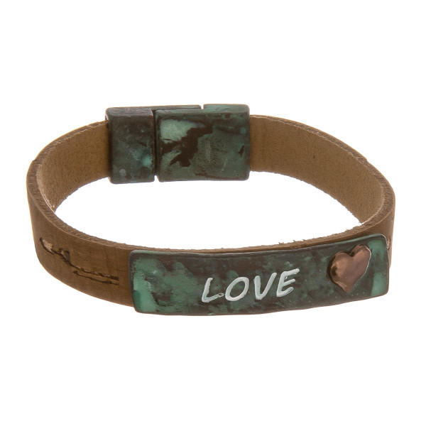 "Metal cork 'Love"" message magnetic bracelet. Approximate 6"" in length."