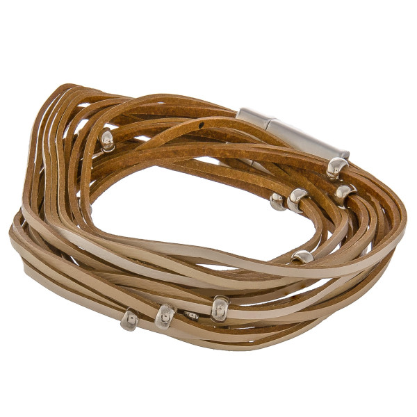 "Gorgeous genuine leather layered bracelet with magnetic snap. Approximate 15"" in length."