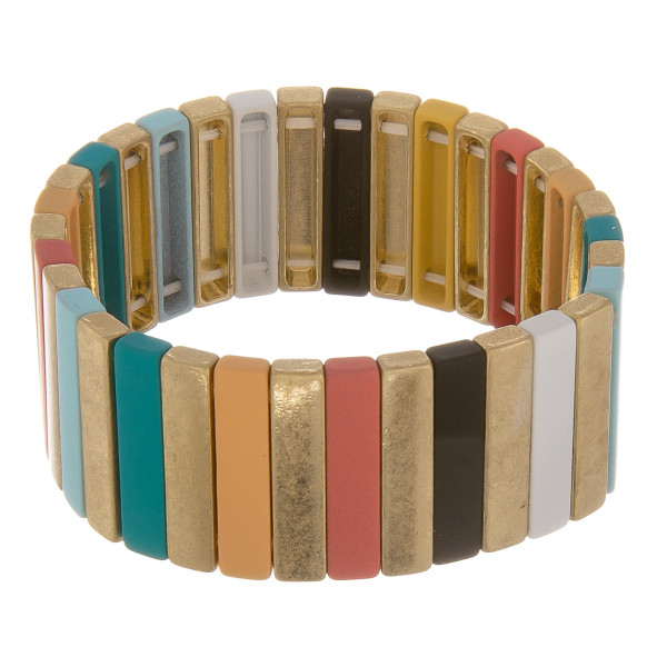 """Color block pinstripe stretch bracelet. Approximately 3"""" in diameter unstretched. Fits up to a 6"""" wrist."""