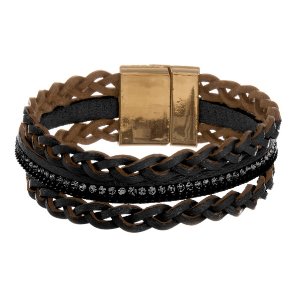 """Leather multi string bracelet with rhinestone wrist details. Approximate 8"""" in length."""