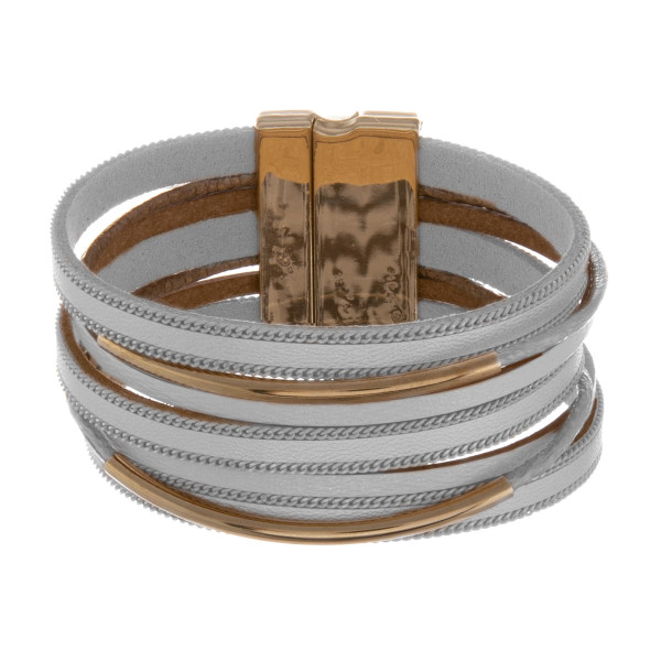 """Leather multi string bracelet with gold metal wrist details. Approximate 8"""" in length."""