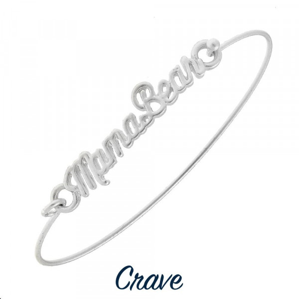 """Gorgeous """"Mama Bear"""" bracelet with Mama bear cursive detail. Approximate 2.5 in diameter."""