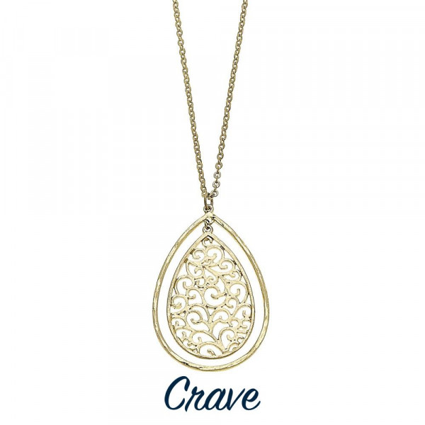 "Long nested teardrop filigree necklace with chain extender. Chain is approximately 30"" long. Pendant is approximately 2"" tall."
