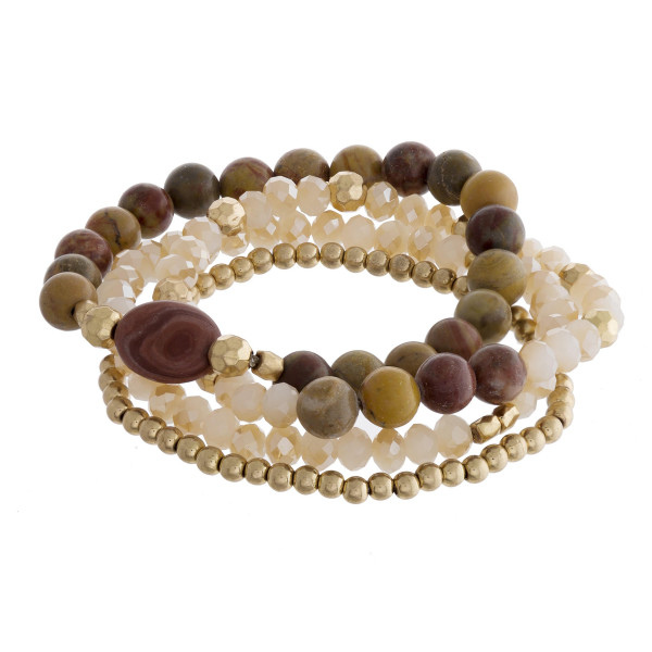 """Natural stone bracelet with beads. Approximate 6"""" in length."""