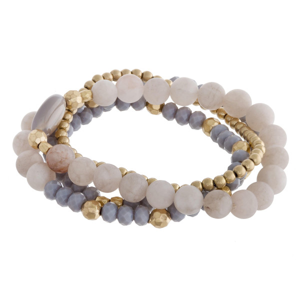 "Natural stone bracelet with beads. Approximate 6"" in length."