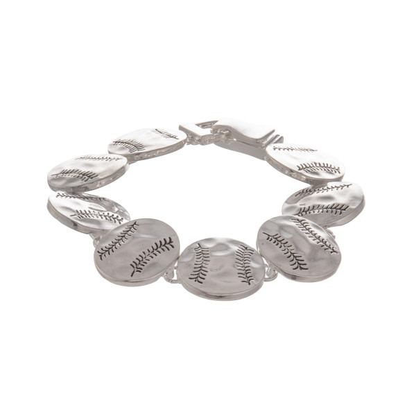 """Metal bracelet with baseball details. Approximate 7"""" in length."""