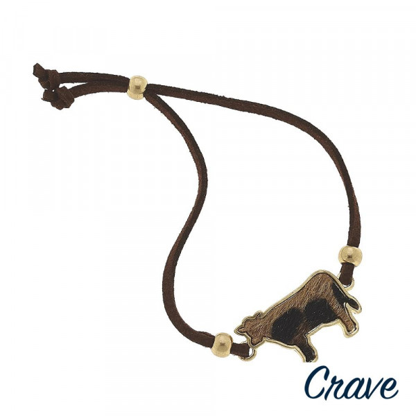 """Leather bracelet with goat cow details. Approximate 6"""" in long."""