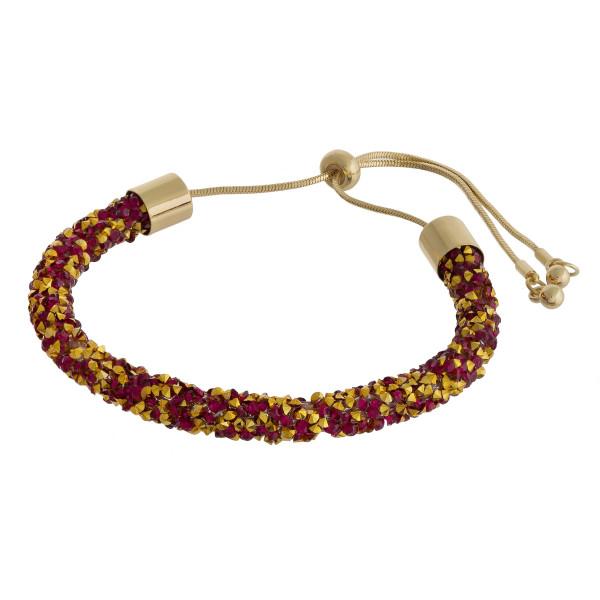 Wholesale red gold rhinestone bracelet adjustable bolo closure Fits up wrist