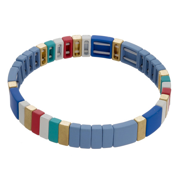"""Metal and acetate stretch bracelet mix. Approximate 7"""" in length."""