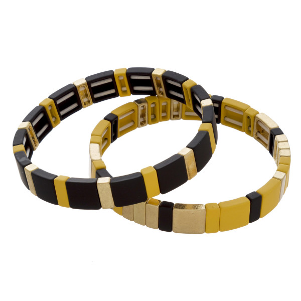 """Metal and acetate double bracelet mix. Approximate 7"""" in length."""