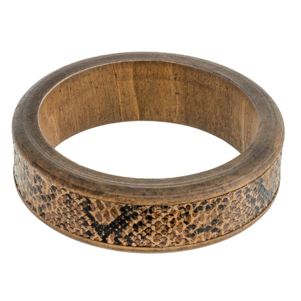 """Wood bracelet featuring snake skin faux leather. Approximately 3"""" in diameter. Fits up to 6"""" wrist."""