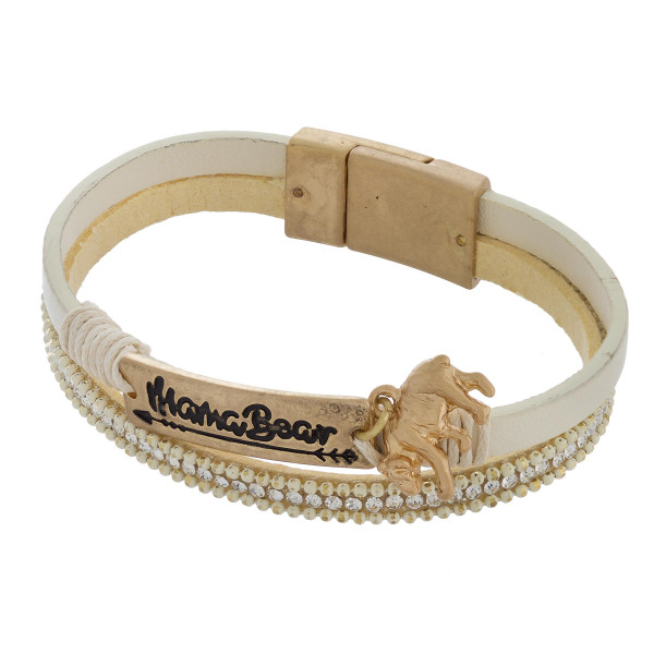 "Mama bear bracelet with magnetic closure. Approximate 7 1/2"" in length."