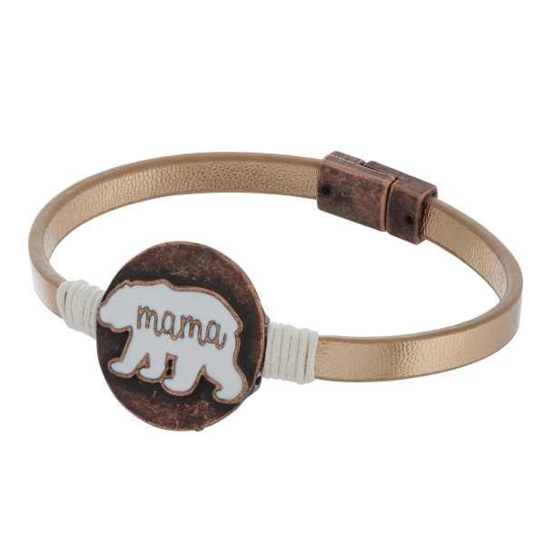 "Leather magnetic bracelet with engraved ""Mama"" message. Approximate 7"" in length."