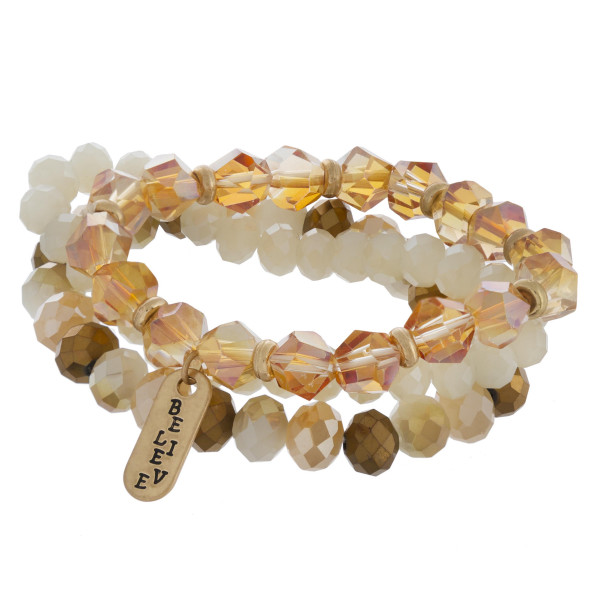 "Multi strand natural beaded bracelet with engraved believe message. Approximate 6"" in length."