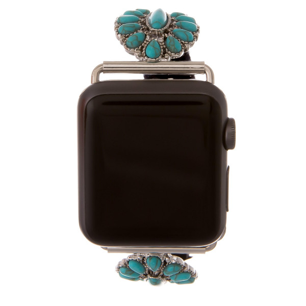 "Black leather smart watch band featuring a turquoise tortoise howlite inspired flower stone. Fits 38/40 mm watch face. Approximate 6"" in length. WATCH NOT INCLUDED."
