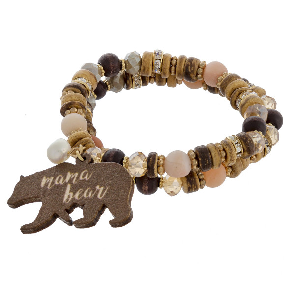 "Mama bracelet with natural stone, wood, rhinestone and bead details. Approximate 6"" in length."