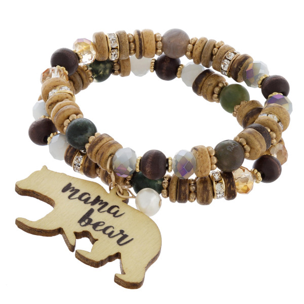 """Mama bracelet with natural stone, wood, rhinestone and bead details. Approximate 6"""" in length."""