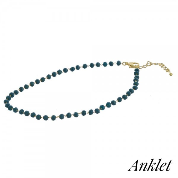 "Beaded anklet featuring faceted bead details. Approximately 4"" in diameter. Fits up to a 8"" ankle."