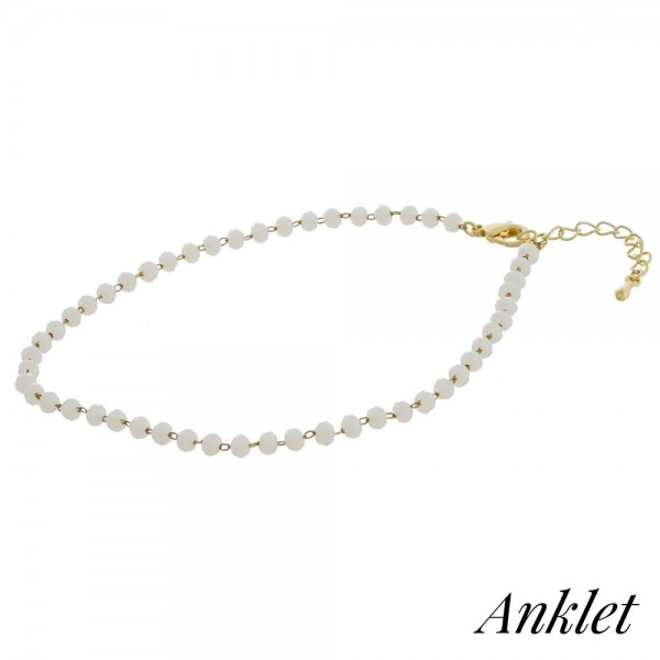 "Beaded anklet featuring faceted bead details. Approximately 4"" in diameter. Fits up to an 8"" ankle."