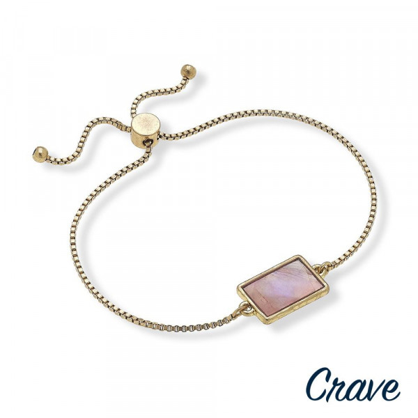 """Metal bracelet with rectangle and pearl details. Approximate 9"""" in length."""