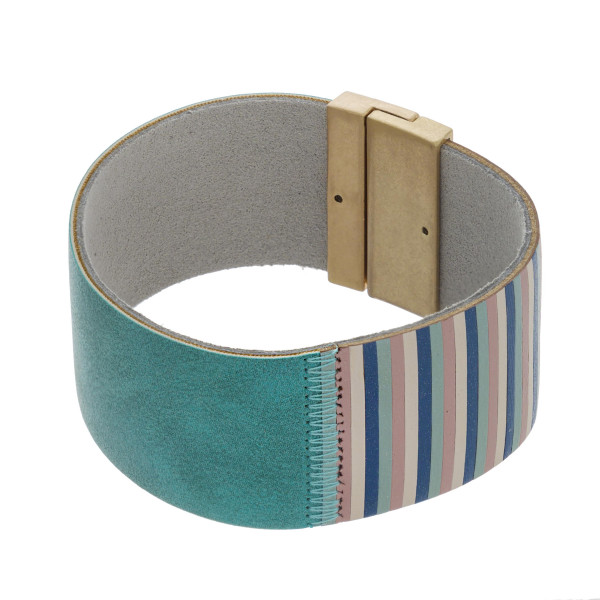 """Faux leather color block bracelet with a magnetic closure. Approximately 3"""" in diameter. Fits up to a 6"""" wrist."""