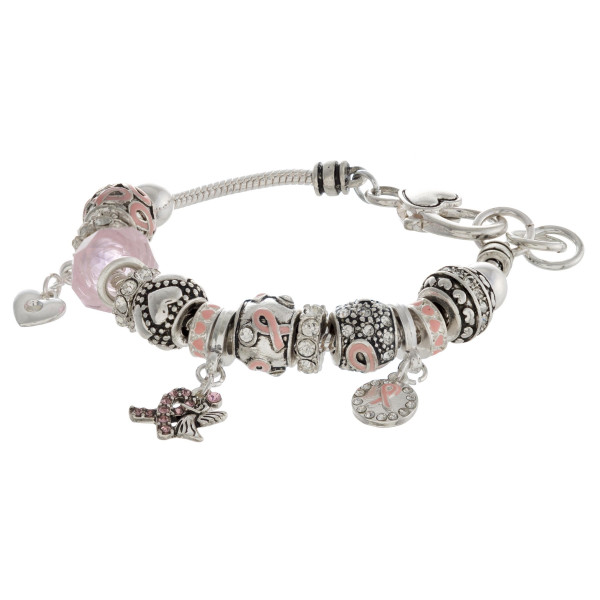 "Pandora inspired breast cancer awareness charm bracelet with a lobster clasp closure. Approximately 3"" in diameter. Fits up to a 6"" wrist."