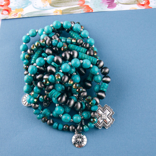 "Western style natural stone beaded stretch bracelet set. Approximately 3"" in diameter. Fits up to a 6"" wrist."