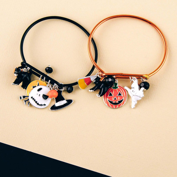 "Halloween ""Nightmare Before Christmas"" charm bangle bracelet. Approximately 2.5"" in diameter. Fits up to a 5"" wrist."