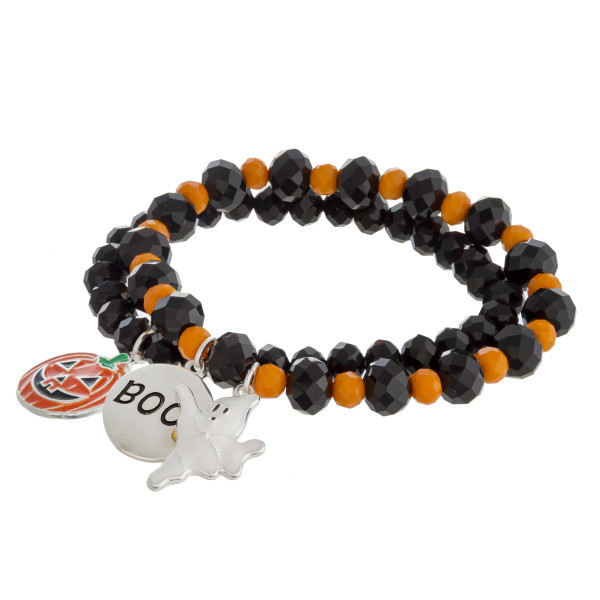 "Halloween charm beaded stretch bracelet set. Approximately 3"" in diameter. Fits up to a 6"" wrist."