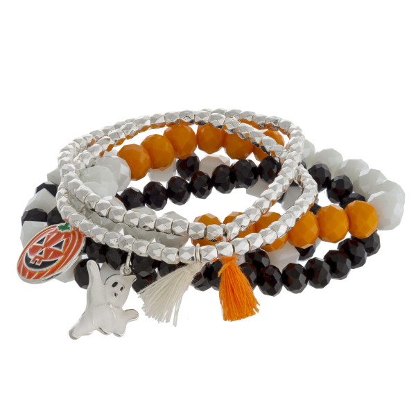 "Halloween charm beaded stretch bracelet set with tassel accents. Approximately 3"" in diameter unstretched. Fits up to a 6"" wrist."