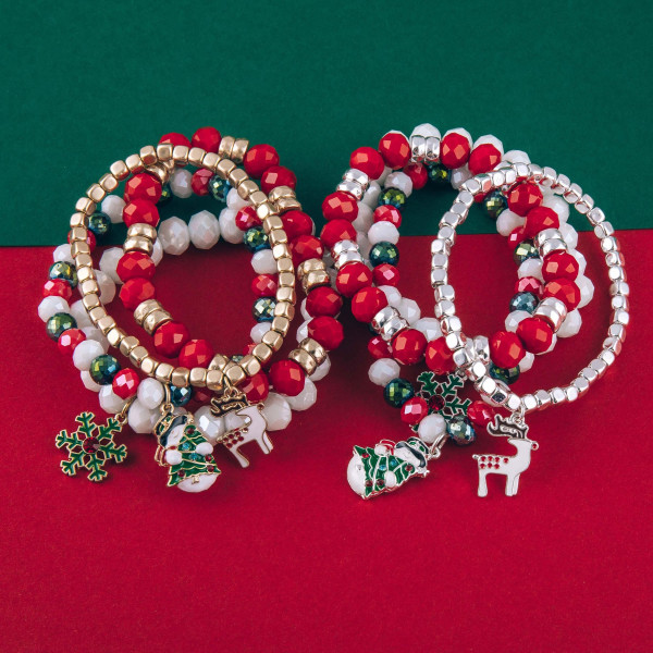 "Beaded Christmas stretch charm bracelet set. Approximately 3"" in diameter unstretched. Fits up to a 6"" wrist."