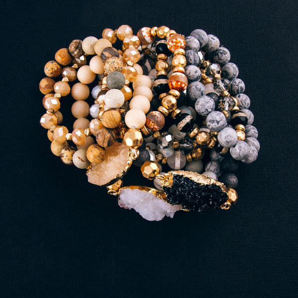"""Natural stone beaded stretch bracelet set featuring a druzy focal with gold accents. Approximately 3"""" in diameter unstretched. Fits up to a 6"""" wrist."""