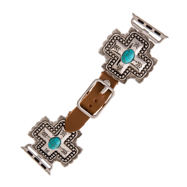 "Interchangeable brown faux leather smart watch band for smart watches featuring a western cross with natural stone accents. WATCH NOT INCLUDED. Approximately 9.75"" in length.  - 38mm - Adjustable closure"