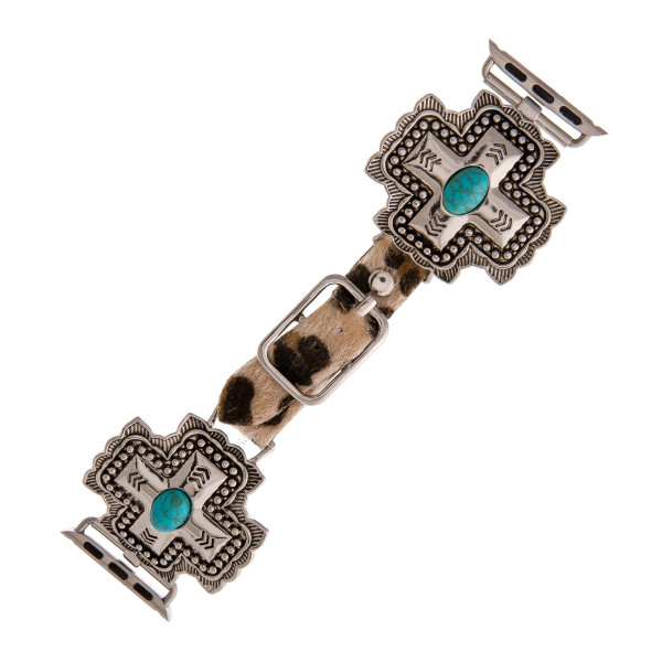 "Interchangeable fur faux leather leopard print smart watch band for smart watches featuring a western cross with natural stone accents. WATCH NOT INCLUDED. Approximately 9.75"" in length.   - 38mm - Adjustable closure"