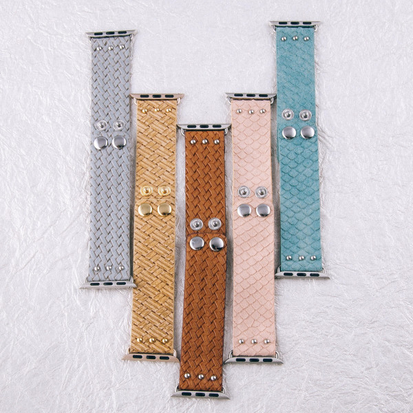 """Interchangeable faux leather band for smart watches featuring mermaid scale inspired details. WATCH NOT INCLUDED. Approximately 8.5"""" in length.  - 38mm - Adjustable closure"""