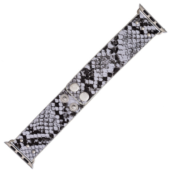"""Interchangeable faux leather snakeskin smart watch band for smart watches. WATCH NOT INCLUDED. Approximately 9.75"""" in length.  - 38mm - Adjustable closure"""