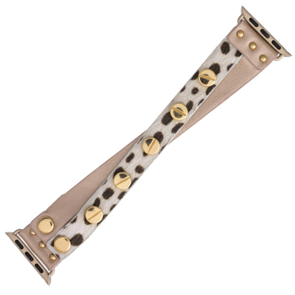 """Interchangeable fur faux leather animal print smart watch band for smart watches with gold stud accents. WATCH NOT INCLUDED. Approximately 9.75"""" in length.  - 38mm - Adjustable closure"""