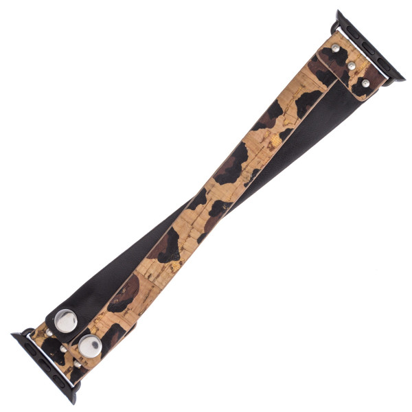 """Interchangeable leopard print faux leather cork inspired smart watch band for smart watches. WATCH NOT INCLUDED. Approximately 9.75"""" in length.  - 38mm - Adjustable closure"""