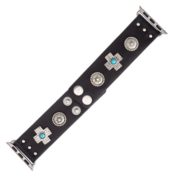 """Interchangeable faux leather smart watch band for smart watches featuring cross and flower accents. WATCH NOT INCLUDED. Approximately 9.75"""" in length.  - 38mm - Adjustable closure"""