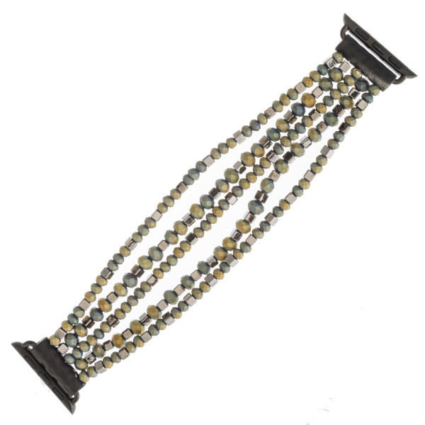 """Interchangeable multi-strand beaded stretch smart watch band/bracelet featuring matte faceted and gold block bead details. WATCH NOT INCLUDED. Approximately 4.5"""" in diameter. Fits up to a 7"""" wrist.  - 38mm"""
