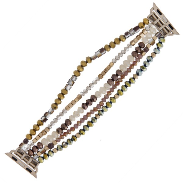 "Interchangeable multi strand semi precious beaded smart watch bracelet. WATCH NOT INCLUDED. Approximately 3"" in diameter. Fits up to a 6"" wrist.  - Fits 38mm watch face"